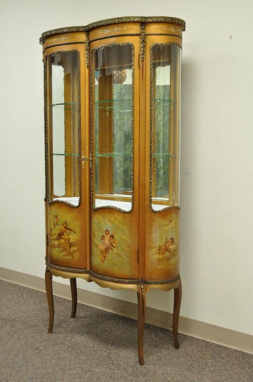 French Louis XV Style Vernis Martin Curved Glass Vitrine