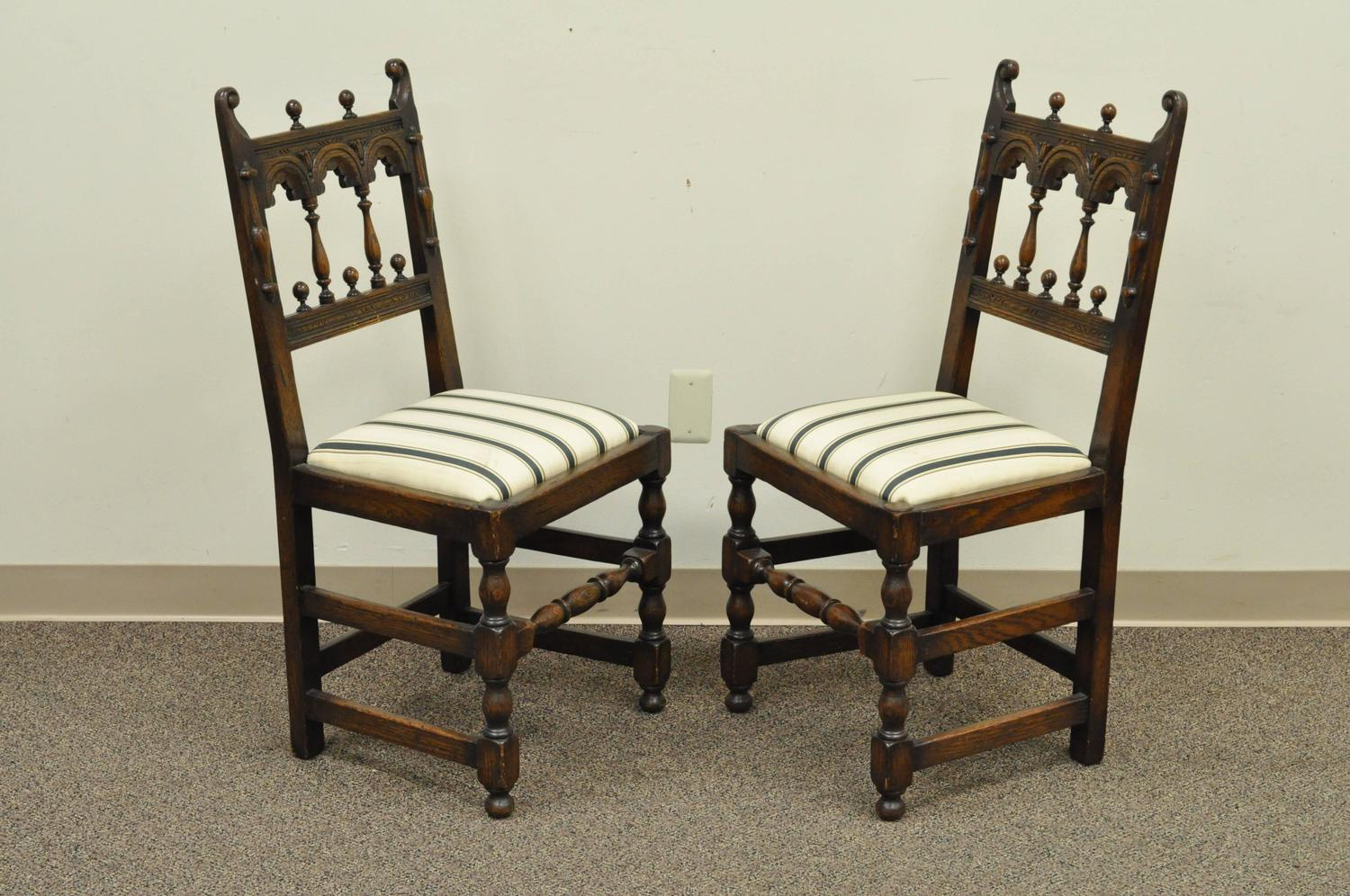 medieval dining chairs desk chair with footrest set of eight solid carved oak 1930s jacobean or gothic