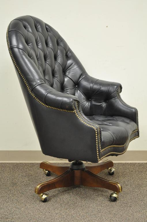 tufted desk chair gray and a half vintage deep black leather english chesterfield style office barrel back item features rolled