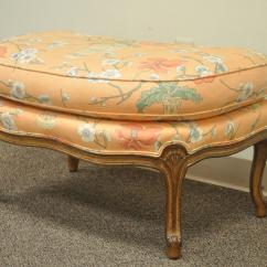 French Provincial Chair And Ottoman Slip Cover For 1950s Country Louis Xv Style Shell Carved Bergere