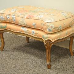 French Provincial Chair And Ottoman Folding Quad Menards 1950s Country Louis Xv Style Shell Carved Bergere