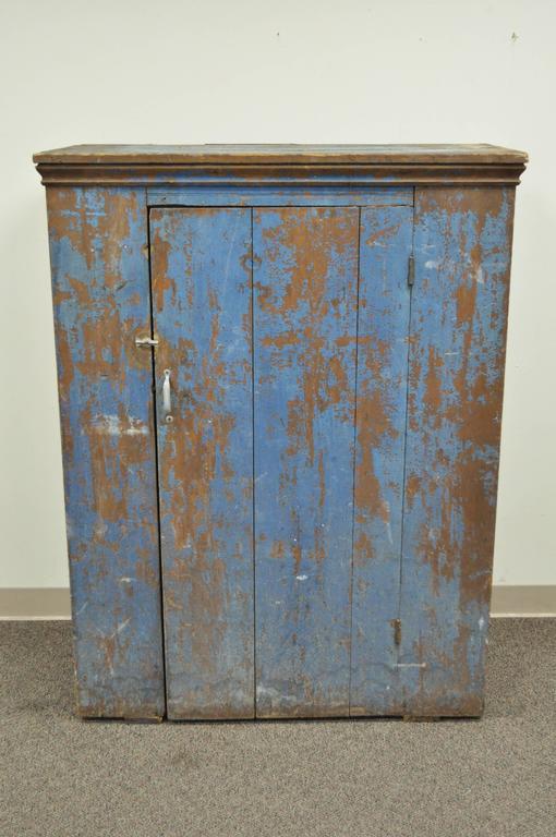 Antique Blue Distress Painted PA Rustic Primitive Jelly