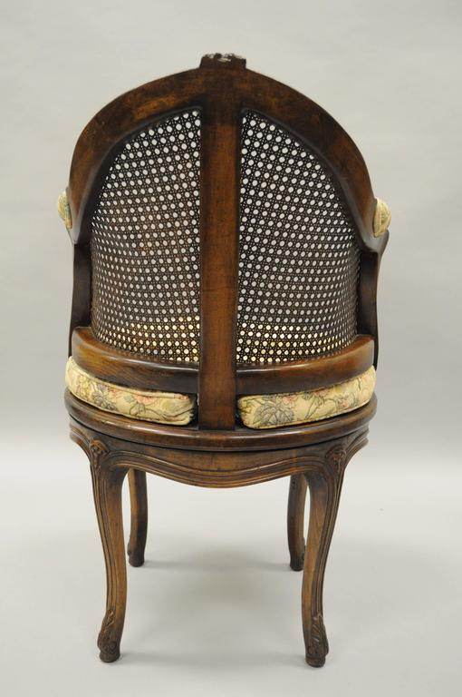 french bergere chair outdoor pouf country louis xv style swivel vanity cane back boudoir seat walnut for sale at 1stdibs