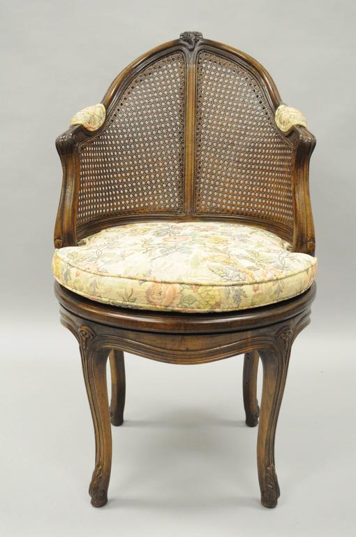 revolving dining chair office chairs cheap french country louis xv style swivel vanity cane back boudoir seat walnut at 1stdibs