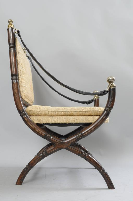 Drexel Campaign Style Faux Bamboo Chair Safari Sling Arm