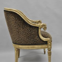 Bergere Chair For Sale Swing Replacement Cushions Barrel Back Ram's Goat Head Neoclassical Style Lounge With Cheetah Fabric At 1stdibs