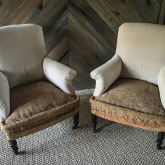 French Velvet Chair Toddler Upholstered Rocking Canada Pair Of Antique Deconstructed Club Chairs At