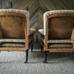 French Velvet Chair Dining Room Covers Diy Pair Of Antique Deconstructed Club Chairs At