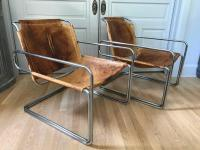 Pair of French Leather and Chrome Mid-Century Sling Chairs ...