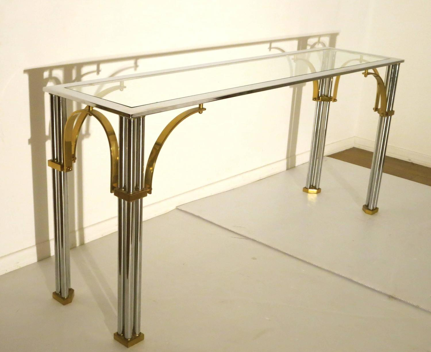 vogue chrome sofa table milan 4 seater set striking and brass with glass top console or