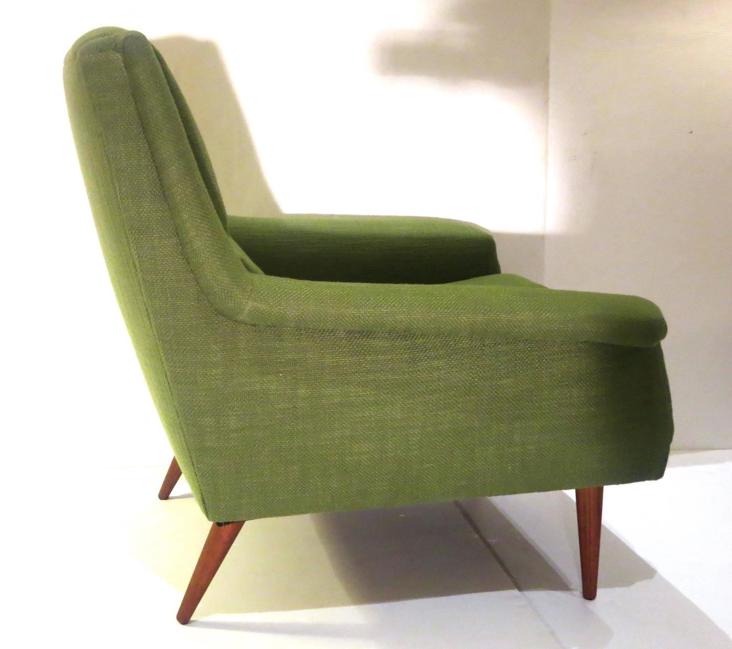 Green Upholstered Chair 1950s Danish Modern Dux Kelly Green Upholstered Lounge Chair
