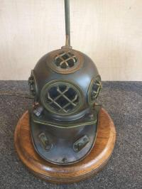 Vintage Nautical Lamp with Brass Divers Helmet For Sale at ...