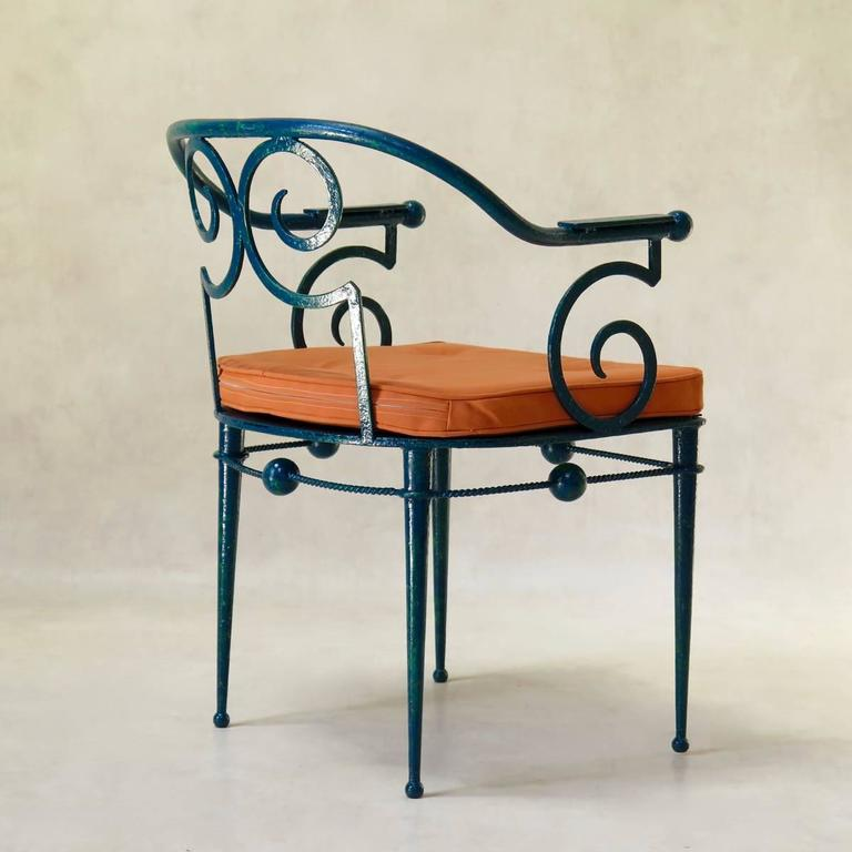 chair design iron bean bag with ottoman french art deco wrought in the style of poillerat circa 20th century