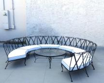 Rare 1950s Outdoor Wrought Iron Sectional Russell