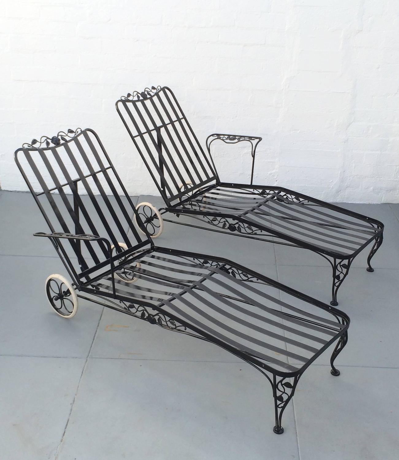 iron chaise lounge chairs used tables and for sale wrought two designed by russell