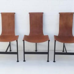 Leather Sling Chairs How To Make Bean Bag Chair Set Of Six 1940s And Iron Dining At
