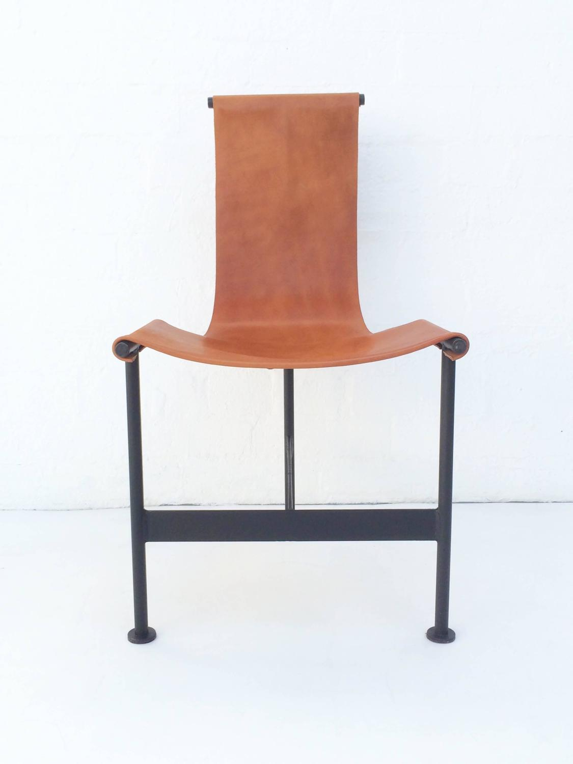 leather sling chairs office chair pillow back support set of six 1940s and iron dining at