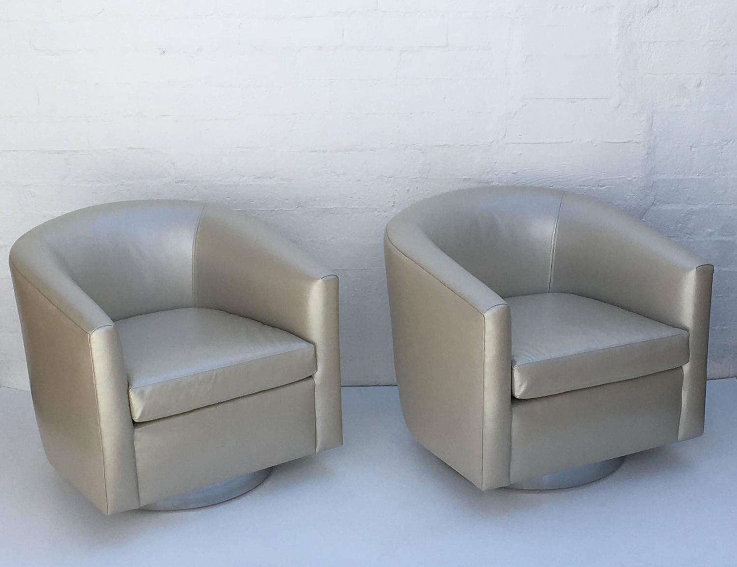 leather swivel barrel chair walmart camp chrome and chairs by martin brattrud for