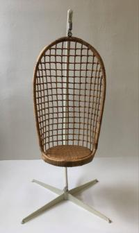 1970s Rattan and Iron Hanging Chair at 1stdibs