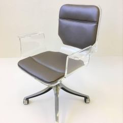Clear Acrylic Swivel Office Chair Painted Dining Room Chairs Ideas And Leather Desk On Casters By Hill Manufacturing Co. At 1stdibs
