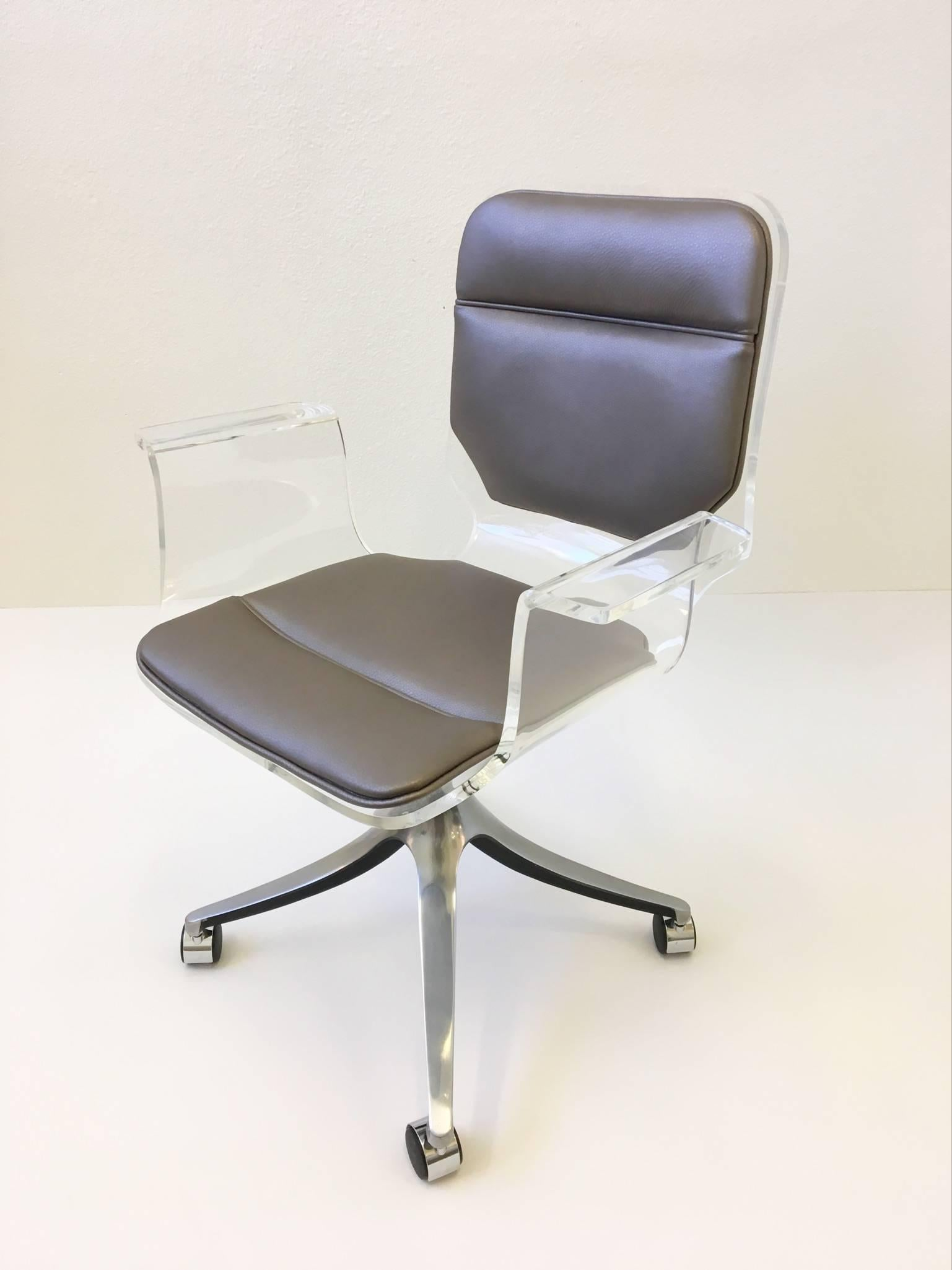 clear acrylic swivel office chair wood table white chairs and leather desk on casters by hill manufacturing co. at 1stdibs