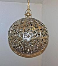 Large Pierced Brass Asian Pendant Light at 1stdibs
