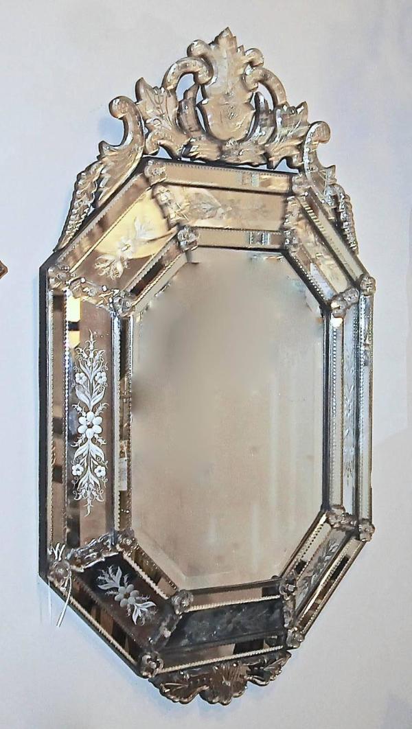 Italian Venetian Glass Mirror Etched