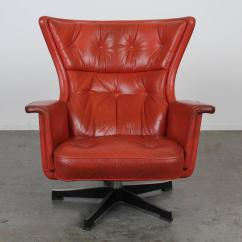 Red Swivel Desk Chair Tufted Leather Office Canada Mid Century Modern At 1stdibs