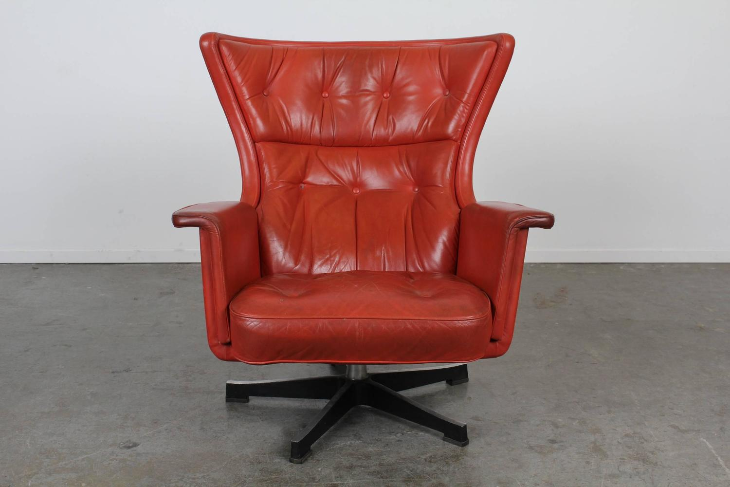 Red Swivel Chair Mid Century Modern Red Leather Swivel Chair At 1stdibs