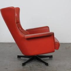 Swivel Chair Mid Century Nat's Fishing Broken Modern Red Leather At 1stdibs