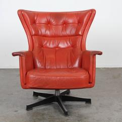 Modern Red Chair Mima High Mid Century Leather Swivel At 1stdibs