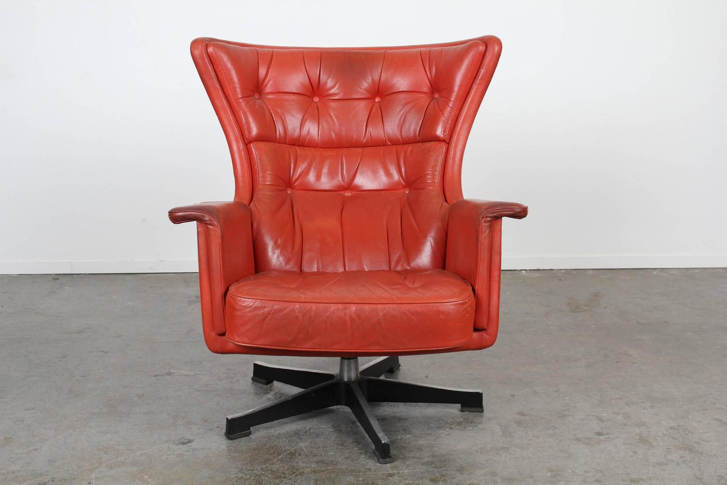 Modern Red Chair Mid Century Modern Red Leather Swivel Chair At 1stdibs