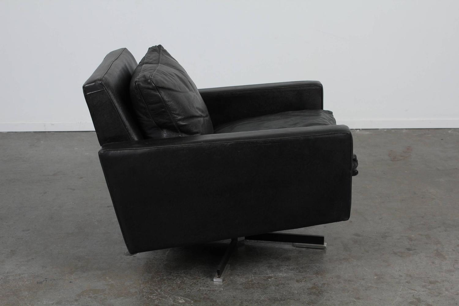 Black Chairs For Sale Mid Century Modern Black Leather Swivel Chair For Sale At