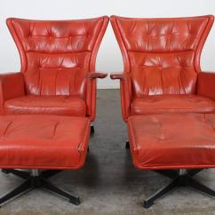 Modern Leather Recliner Swivel Chair Wooden Office On Wheels Mid Century Red At 1stdibs