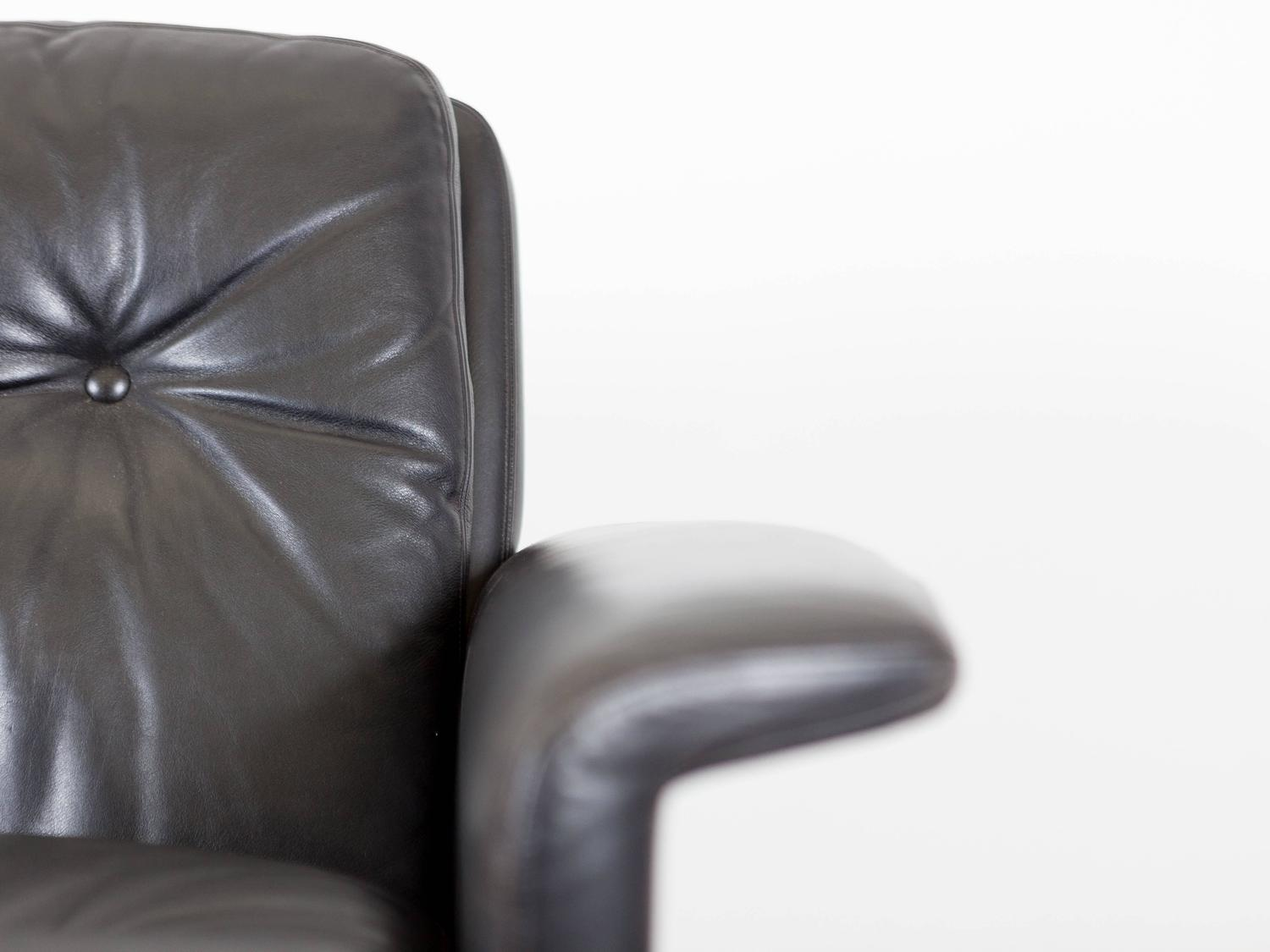 black leather swivel lounge chair reupholster cushion corners mid century for sale at
