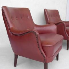 Chestnut Colored Leather Sofa Macy S Power Reclining Pair Of Danish Armchairs With Footstool In ...