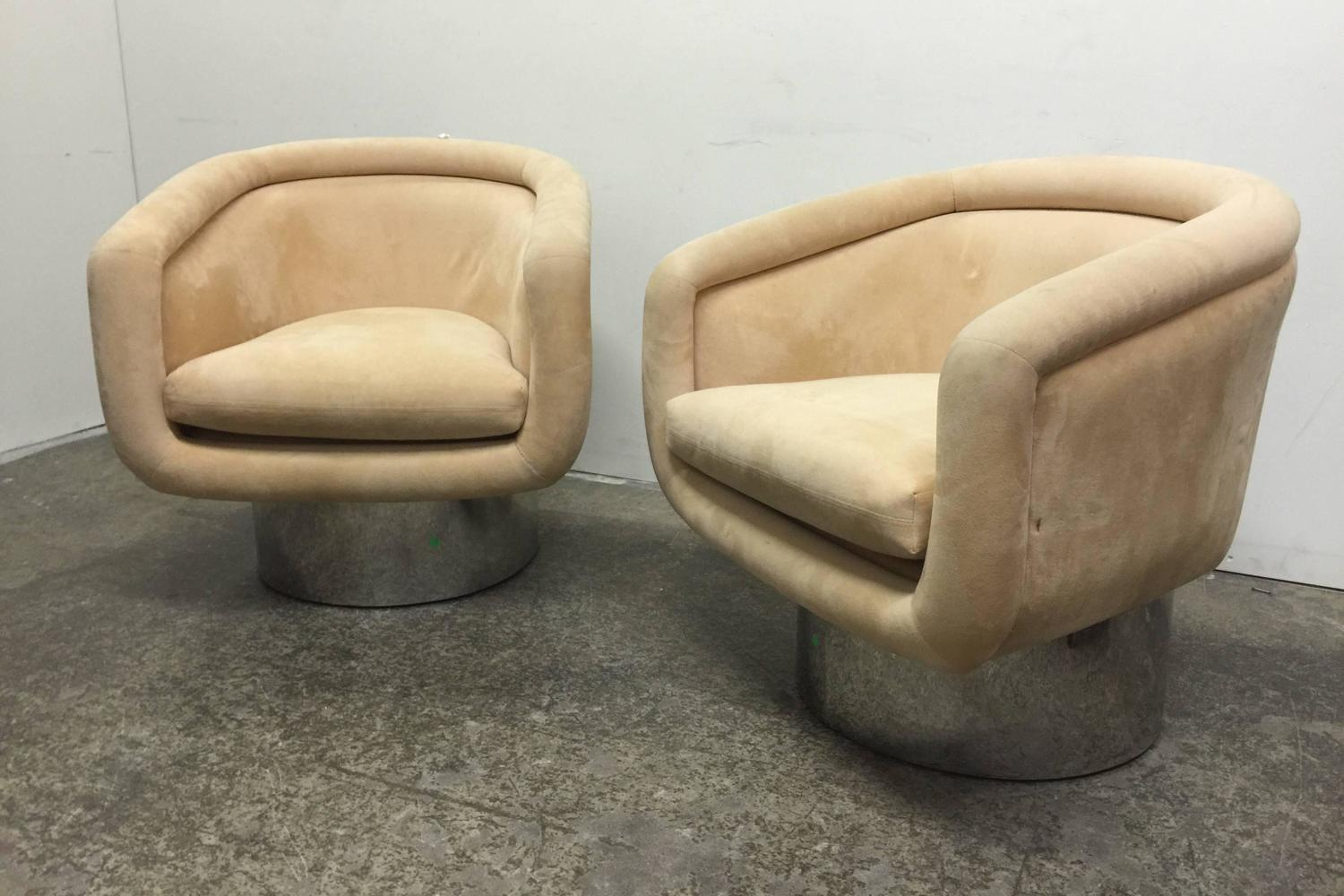Metal Tub Chair Pair Swivel Tub Chairs With Steel Base By Leon Rosen For