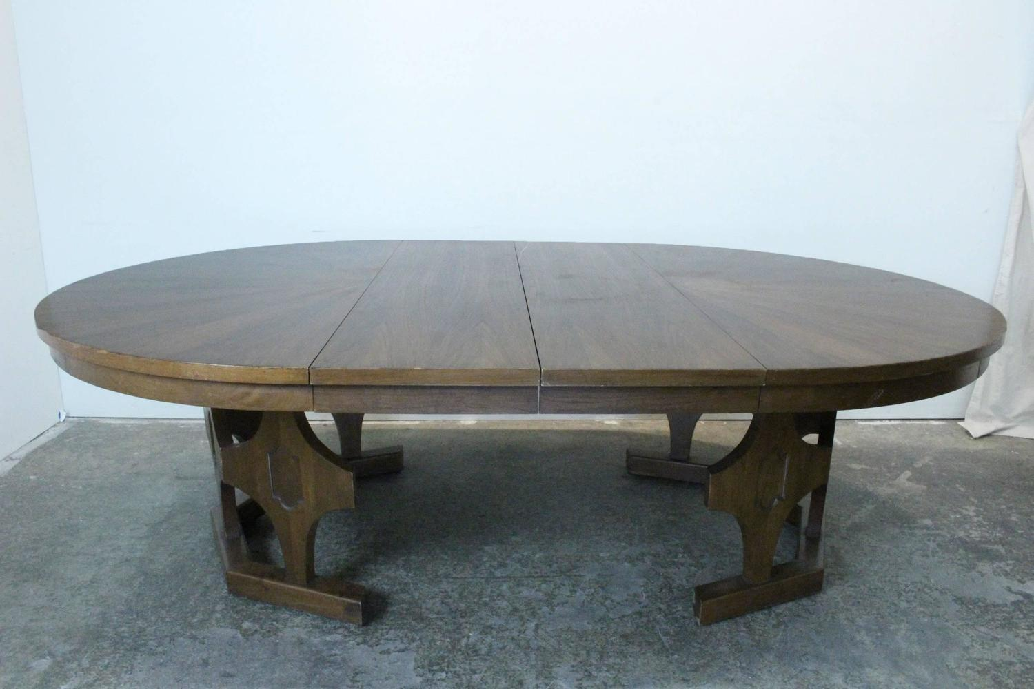 round expandable dining room table 1960s mid century