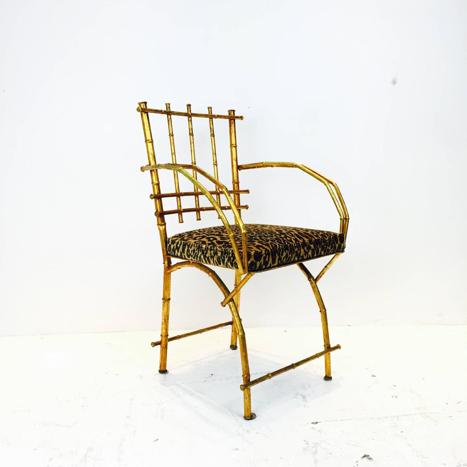 Gold Vanity Chair Gold Leaf Faux Bamboo Vanity Chair For Sale At 1stdibs