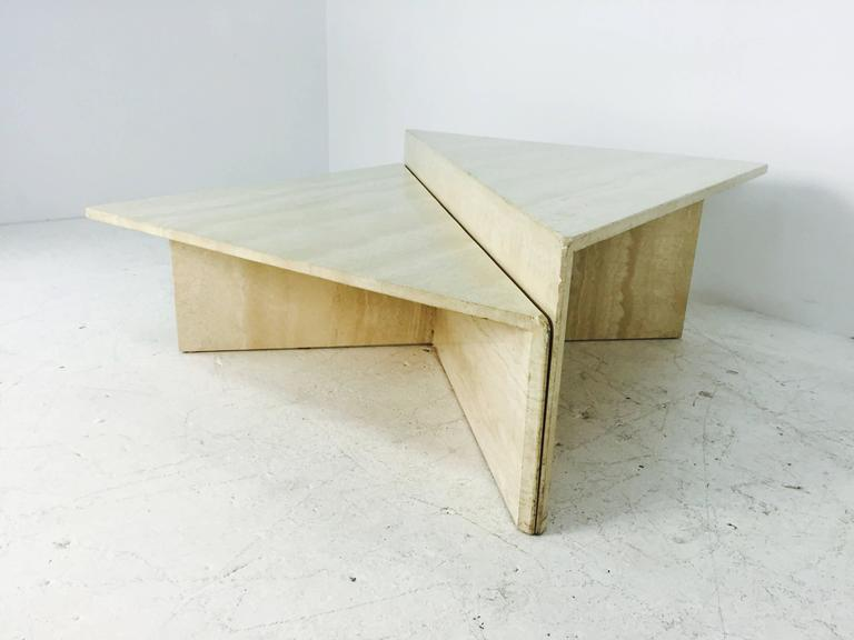 travertine marble two piece two tier coffee table