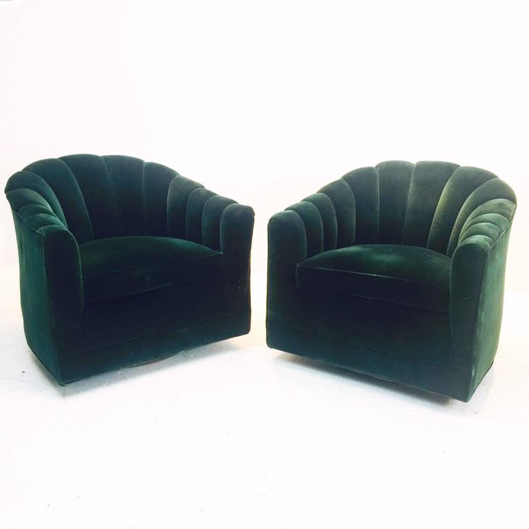 green velvet swivel chair adirondack chairs home depot pair of hunter channel back milo baughman mid century modern for