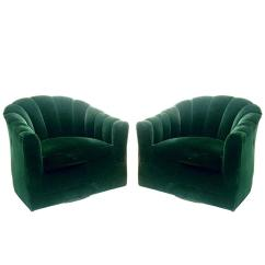 Green Velvet Swivel Chair Cheap Covers And Sashes Pair Of Hunter Channel Back Milo Baughman Chairs At 1stdibs