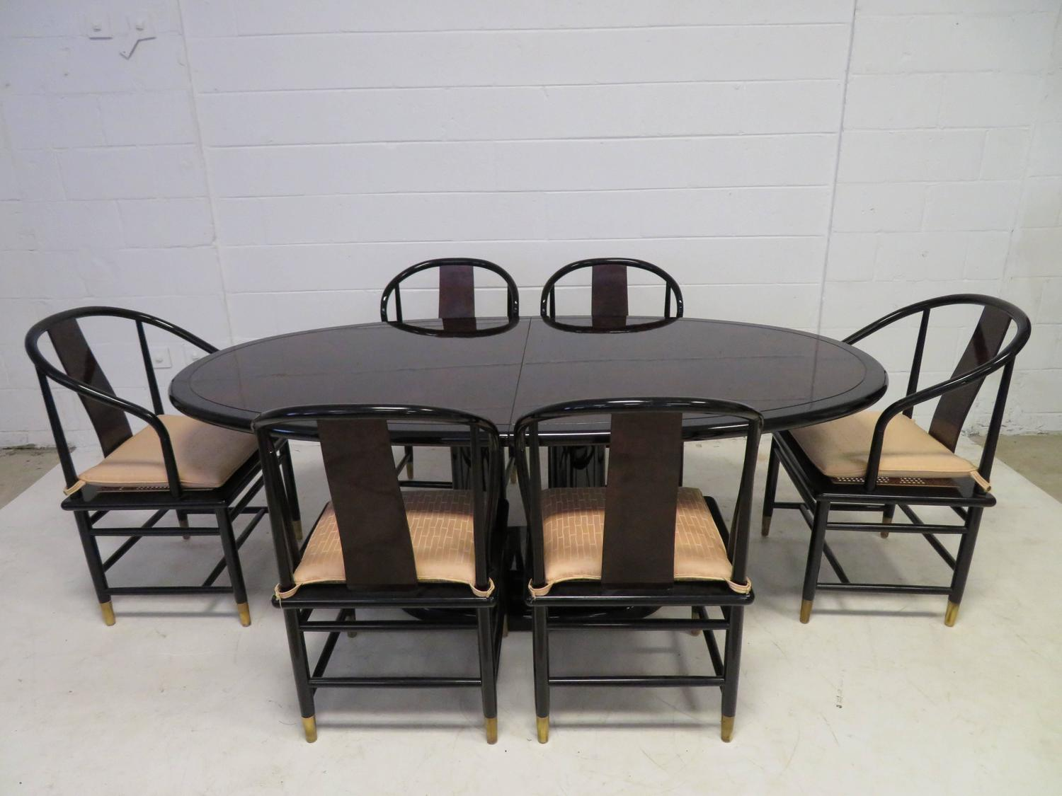 henredon asian dining chairs tantra chair dimensions width fabulous set of six scene three style lacquered