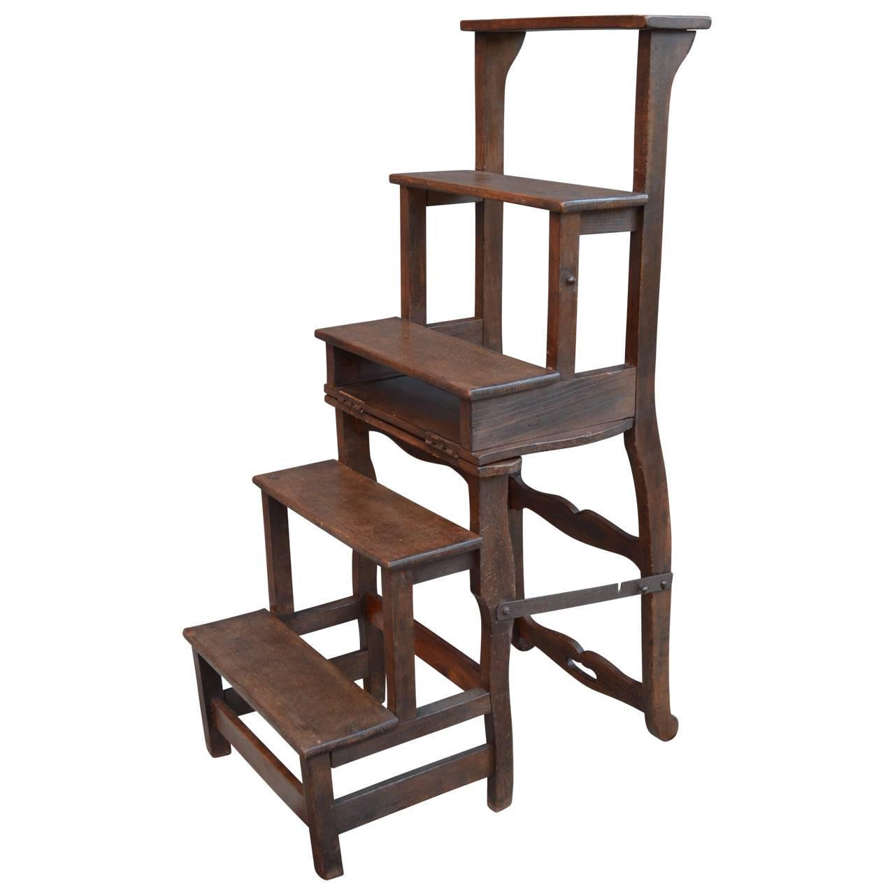 library chair ladder plans fishing go outdoors danish folding steps at 1stdibs