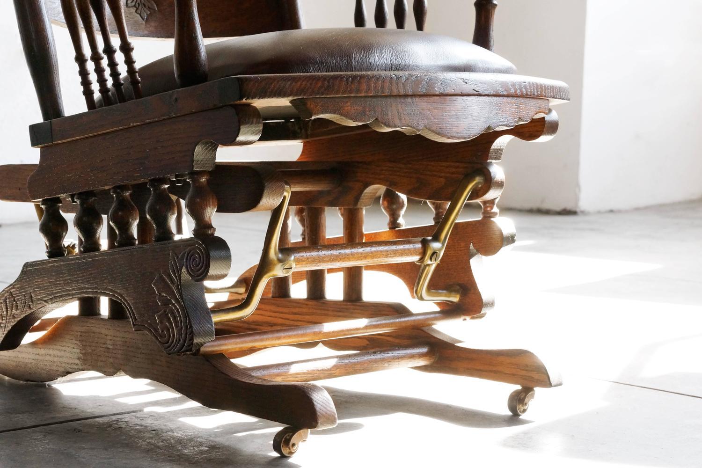 rocker glider chair kids and ottoman 19th century victorian platform in oak brass at 1stdibs