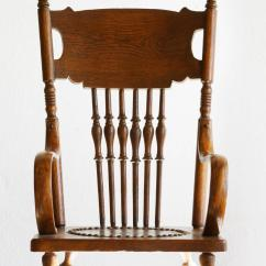 Antique Rocking Chair Leather Seat Best Chairs Geneva Glider Espresso Wood Granite Child 39s With Hand Tooled