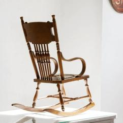 Shaker Ladder Back Chair Steel Meme Antique Child's Rocking With Hand-tooled Leather Seat At 1stdibs