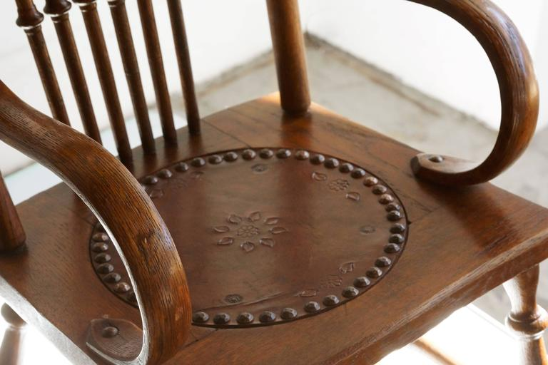 midcentury rocking chair upholstered kitchen chairs antique child's with hand-tooled leather seat at 1stdibs
