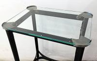 Art Deco Metal Rolling Side Table with Glass Top, 1920s ...