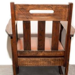 Brown Leather Rocking Chair Barber Repair Hydraulic Stickley Style With Circa